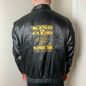 Vintage 80s Riverside Casino Black Satin Jacket